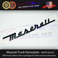 Maserati Trunk Nameplate Emblem Matte Black Letter Logo Badges Ghibli OEM