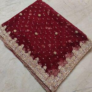 Classic Indian Bridal Wedding Dupatta Scarf Heavy Zardozi Beaded Net Veil Stole