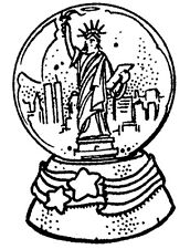 Patriotic Stamps, Unmounted Snow Globe Rubber Stamp, Statue of Liberty, Seasonal