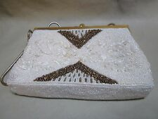 Vintage Beaded Evening Handbag White/copper Snake Chain Strap Adjustable L@K!
