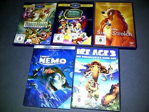 5 x Kinder Filme DVD Sammlung Walt Disney - Robin Hood Alice Susi Strolch Nemo