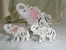 Vintage Porcelain Figurines Elephant and Babies Japan