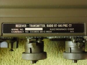 RADIO PRC-77 REPLACEMENT DATA PLATE (ELECTROSPACE)
