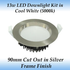 13w Dimmable LED Downlight Kit in Cool White Light with Brushed Chrome Frame