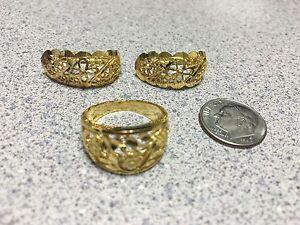 Custom 14K Gold Omega Filigree Earrings Ring Jewelry set (look like 22k) 10g sz7