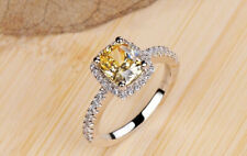 Cubic Zirconia Statement Engagement Ring Halo Cushion Cut Canary Yellow, Clear,