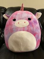 "Kellytoy Squishmallow 16"" Large purple Tie Dye Unicorn Lola Soft Plush Toy"