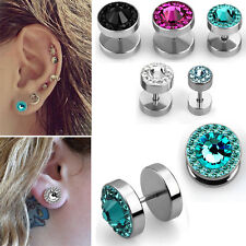 1-4PC Illusion Fake Plugs for Pierced Ears Ferido Studs Sparkling Crystal Studs