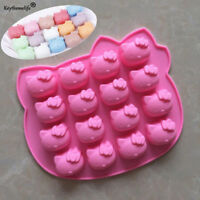 Hello Kitty 16 Grid Silicone Soap Mould DIY Cake Chocolate Tray Baking Mold US
