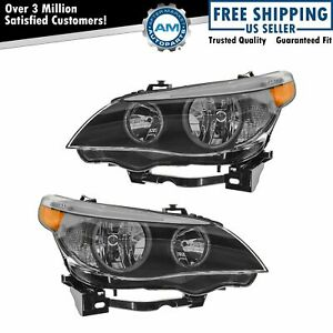 Headlights Headlamps Halogen Left & Right Pair Set for BMW E60 5 Series NEW