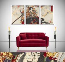 Samurai Warrior Taira Masakado Japan 3 Panel Triptych Wall Art Print Poster