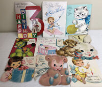 Lot Of Vintage Greeting Cards Child's Birthday Easter Used 1950's Hallmark Rust