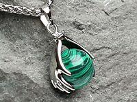 Edelsteinanhänger Malachit grün rund Silber Kugel Hände Kette Schmuck DIY