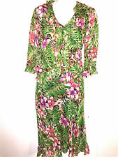 ROBBIE BEE SIGNATURE WOMENS LADIES 100% SILK FLORAL SPRING DRESS & JACKET ~SZ 12