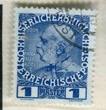 Austria Levant; 1908 problema de adhesión bien usado valor 1Pi.