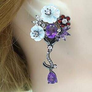 Genuine 7.80ctw Mother of Pearl, Amethyst, Sapphire Black Rhodium 925 Earrings