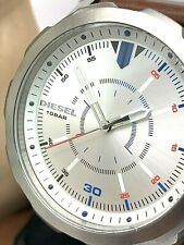Diesel Men's Watch DZ1736 Silver Dial 46mm Quartz Brown Leather Strap USED