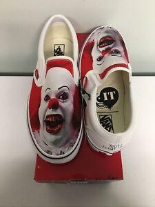 Vans X House Of Terror White Halloween It Clown Classic Slip-On Shoes 6M 7.5W