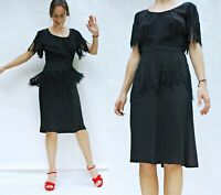 vintage 1940s Black Fringe Peplum Dress with Fringe Sleeves