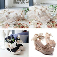 Women Summer High Heels Platform Strappy Sandals Pumps Party Riband Wedge Shoes