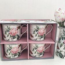 Style Vintage Antique Rose Fine China set 4 Coffret Cadeau Thé Tasses à Café Mariage