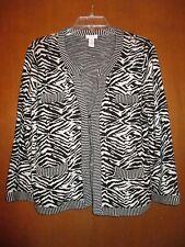 "Chicos 1 Black White Zebra Sweater Cardigan 22""Undrarms Slvs20"" Lngth23"" Ret$129"