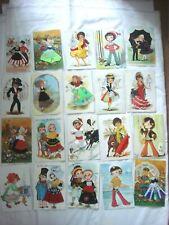 20 x SPANISH EMBROIDERED POSTCARD'S. CHILDREN DANCING.