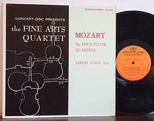 SAMUEL BARON-FINE ARTS QUARTET Mozart: 4 Flute Quartets RARE EXC CONCERT-DISC LP