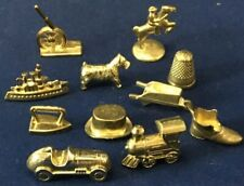 Lot of 11 Different  Gold Monopoly Tokens Train Race Car
