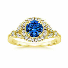 1.60 Ct Real Diamond Natural Blue Sapphire Ring 14K Yellow Gold Sapphire Rings