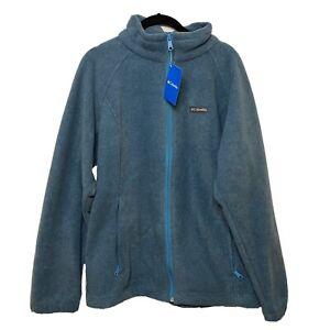 Columbia Fleece Women's 1X Full Zip Pockets Teal Green