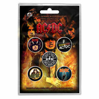 AC/DC Highway To Hell Button Pin Badge 5 Pack Set Early Albums New OFFICIAL