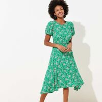 Ann Taylor Loft Womens Dress Size 4 Green Floral A-line Crepe Short Puff Sleeve