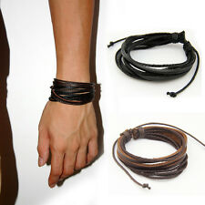 2PCS Wrap Multilayer Genuine Black Leather Bracelet Braided Rope Men's Jewelry