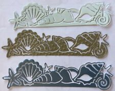"SEASHELL BORDER Die-Cuts(3pc)Approx.5.5""x 1.5"" Ocean•Sea•Sand•Tropical•Vacation•"