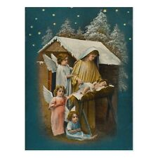 """Christmas-""Angels Stand Near Baby Jesus and Mary""  'Postcard' (B-133)"