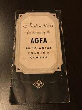 Agfa Pb 20 Antar Folding Camera Instructions Manual