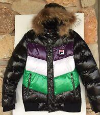 FILA Down Puffer Winter Ski Jacket Wmn/Men Sz M Tricolor Logo Embroidery/Worn 2x