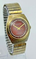 Vintage 1970s Men's KRONOTRON Gold Tone Mechanical Watch, Red Dial, Crystals