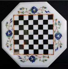 """18"""" White kids game Chess Marble Table Top  Inlay Malachite Inlay Decor C105"""