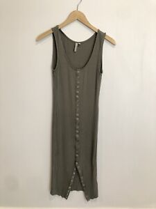 Feathers Dress Olive Green Ribbed Small Button Down Sleeveless Bodycon Midi