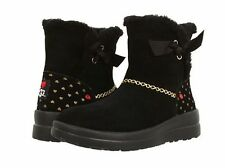 NIB WOMENS 6 GIRLS 4 I HEART UGG KNOTTY GOLD HEARTS LEATHER SUEDE BLACK BOOTS