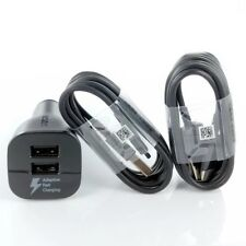 New OEM Samsung S8 S9 + Edge Note 8 Fast Car Charger Dual Port & 2X TypeC Cable