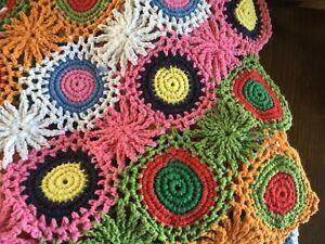 "50 x 60"" Multicolor crochet blanket hand hook throw by MELANGE HOME"