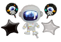 astronaut Spaceman 5 pack Helium Balloons Happy Birthday Party Space Balloon set