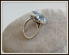 Ancienne bague Ard Deco en or blanc aigue marine antique white gold jewelry ring