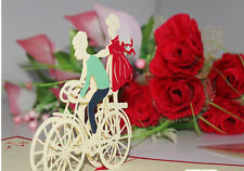 3D Pop Up Greeting Card Lovers romantic bicycle Valentine's day happy Birthday