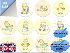 EDIBLE CUPCAKE TOPPER BABY SHOWER, BIRTHDAY GIRAFFE PREMIUM WAFER CARD