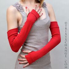 Handmade Red Long Cotton Fingerless Arm Warmers Gloves Winter Covers US Seller