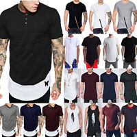 Men Extended Hip Hop T-shirt Longline Tee Top Short Sleeve Casual Muscle Blouse